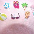 Summer Brads Flip Flops Sunglasses Ocean Beach Ball Palm Tree Candy Flamingo