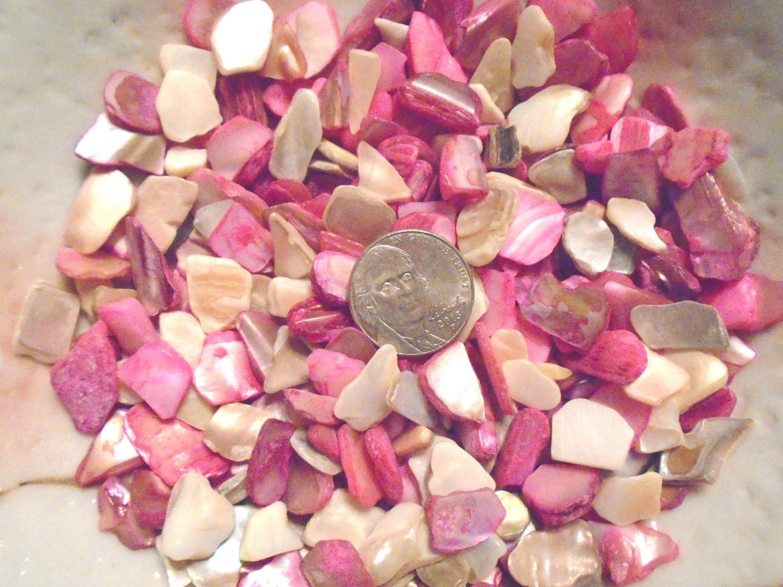 6oz Pink Beige Crushed Seashells Mosaics Vase Filler Sea Shells Craft Jewelry