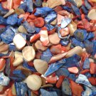 3oz Coral Red, Ivory Blue Patriotic Crushed Seashells Mosaic Vase Filler Shells