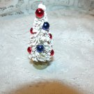 Mini Bottle Brush Tree White Red Blue Beads July 4th Flag Patriotic Miniature