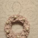 Pink White Pearls Wreath Tree Ornament Shabby Bottle Brush Chic Christmas