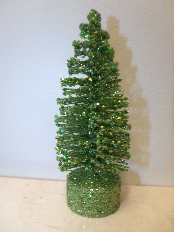 5in Lime Green Bottle Brush Flocked Christmas Trees Sisal Shabby Easter Village