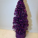 7 in. Halloween Flocked Purple Tree Bottle Brush Christmas Crystal Glitter Sisal