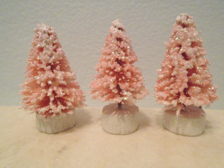 Shabby Mini Miniature Pink Bottle Brush Trees Sisal Flock Dollhouse Fairy Garden