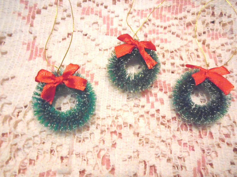 Mini Green Christmas Tree Wreath Ornaments Miniature Bottlebrush Dollhouse