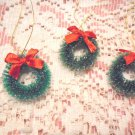 Mini Green Christmas Tree Wreath Ornaments Miniature Bottlebrush Dollhouse