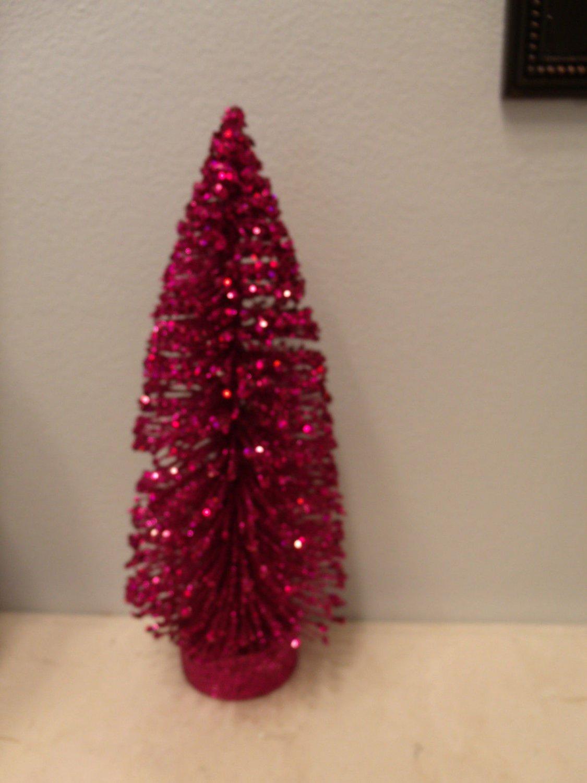 Flocked Magenta Fuchsia Pink Sisal Tree Bottle Brush Christmas Crystal Glitter