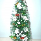 7in Green Bottle Brush Flocked White Christmas Tree Sisal Shabby Beaded Garland