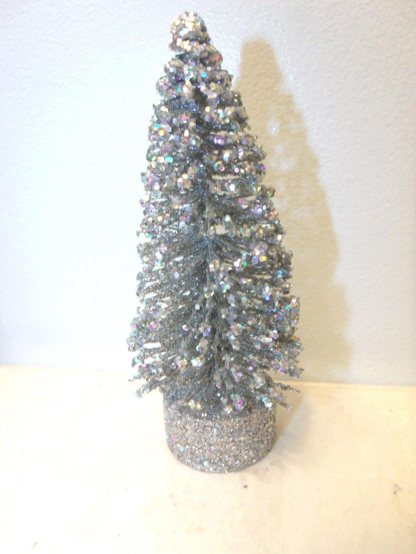 5in Silver Bottle Brush Christmas Tree Sisal Crystal Glitter Gray Easter Village