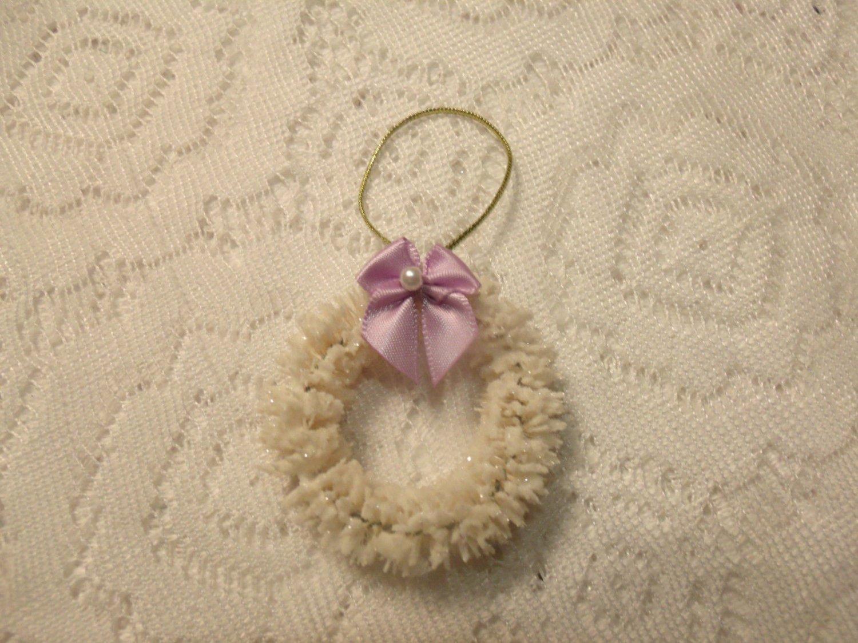MINI Wreath Tree Ornament Shabby Bottle Brush Christmas Miniature Lavender Bow