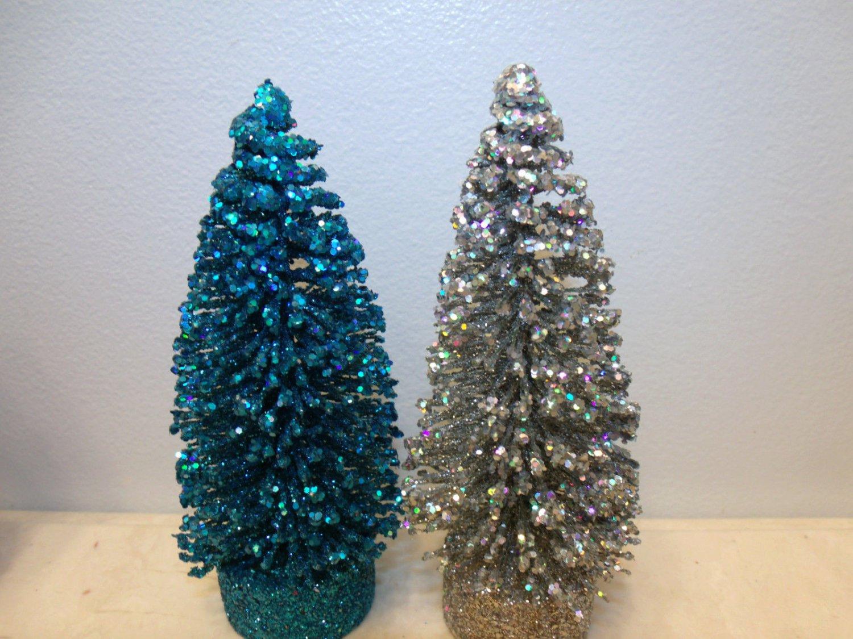 Flocked Turquoise Blue Silver Sisal Trees Bottle Brush Christmas Glitter Crystal