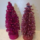 2 Flocked Magenta Dusty Pink Sisal Tree Bottle Brush Christmas Glitter Crystal