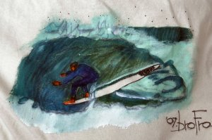 Original T-shirt painting directly on to bright colorful T-shirts.