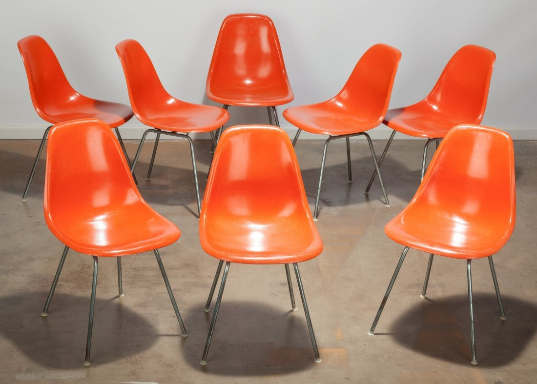 Group of 8 Herman Miller EAMES Orange Fiberglass Chairs
