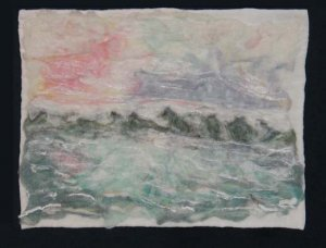 "'Dawn on the Bay' small art quilt.  18 1/2"" x 24 1/2"""