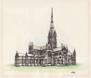 Pen and watercolor - Salisbury Cathedral