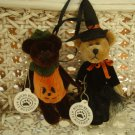 BOYDS HALLOWEEN PUMPKIN AND WITCH WUZZIE BEAR ORNAMENTS  ***NEW STORE STOCK***