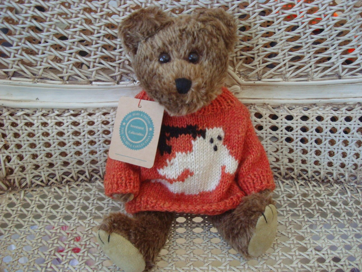 """BOYDS GUS GHOULIE 12"""" HALLOWEEN BEAR WITH GHOST SWEATER  **NEW STORE STOCK**"""