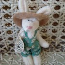 "BOYDS ADORABLE 3"" TALL WUZZIE BUNNY IN HAT & DRESS  RETIRED **NEW STORE STOCK**"