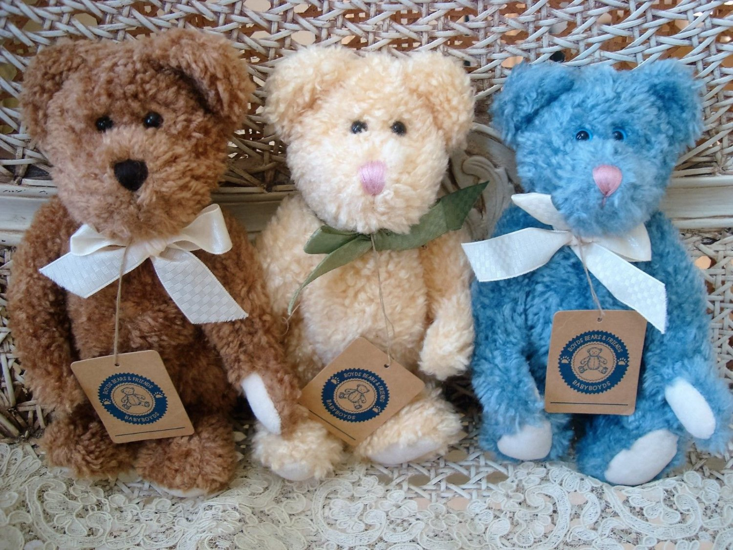 "BOYDS SET OF 3 BABY BOYDS CUTE 8"" TALL BEARS ***NEW STORE STOCK** RETIRED"