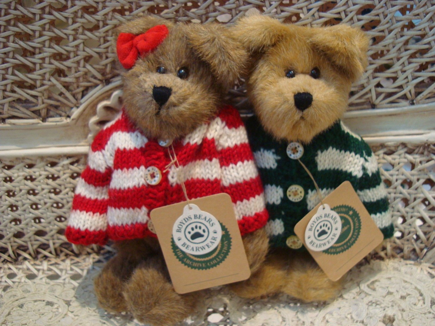 BOYDS QVC EXCLUSIVE 1999 SPEARMINT & PEPPERMINT CHRISTMAS BEARS LE *NEW*