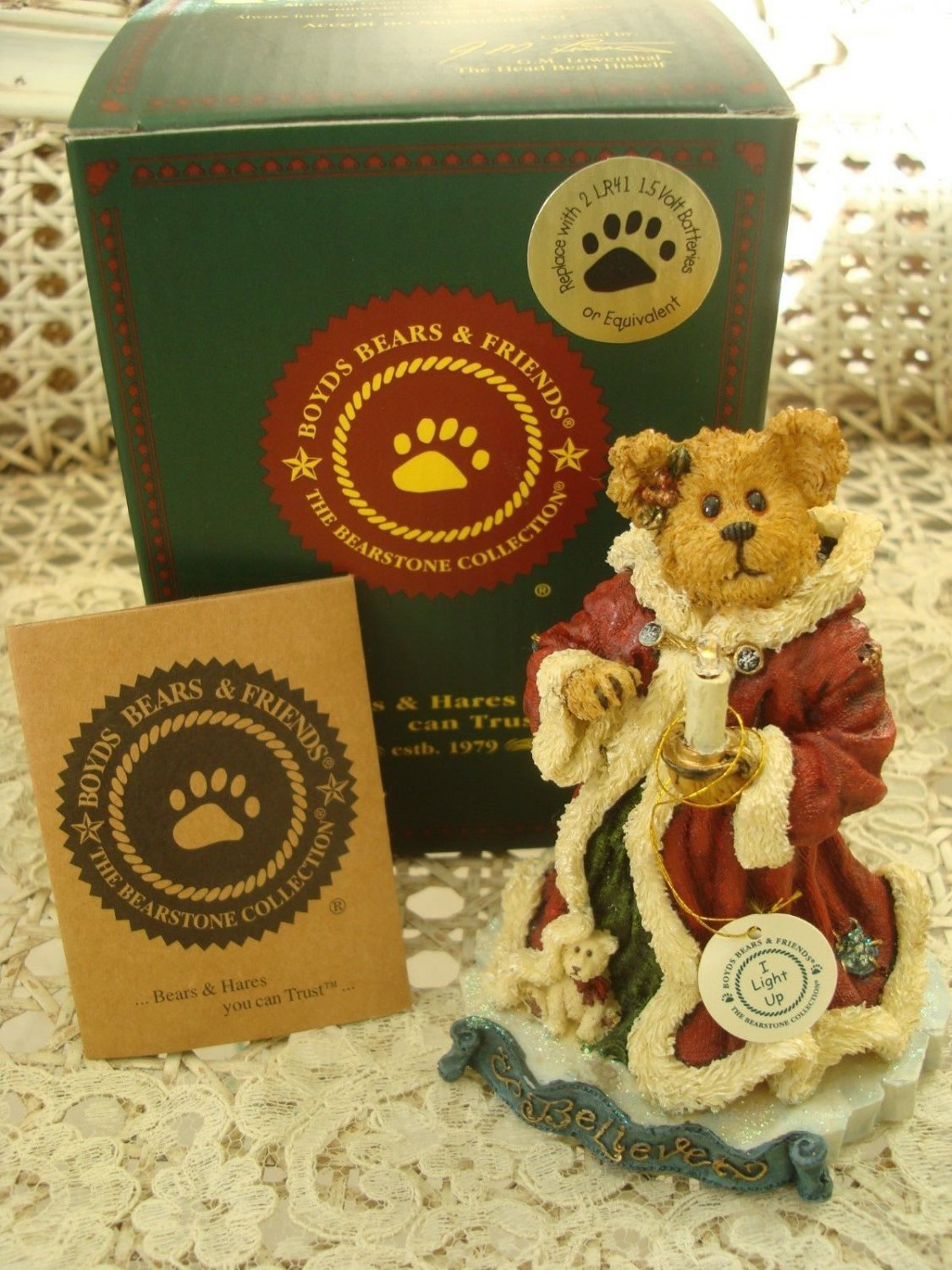 BOYDS KRYSTLE BEARBRIGHT BELIEVE CHRISTMAS BEARSTONE ***LIGHTS UP** NEW IN BOX