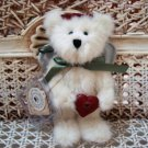 "BOYDS 2001 QVC EXCLUSIVE ANGELA 6"" TALL CHRISTMAS ANGEL BEAR WITH HEART ORNAMENT"