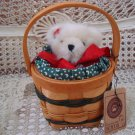 "BOYDS HOLIDAY B. BEARSLEY 8"" CHRISTMAS BEAR IN BASKET *NEW STORE STOCK*"
