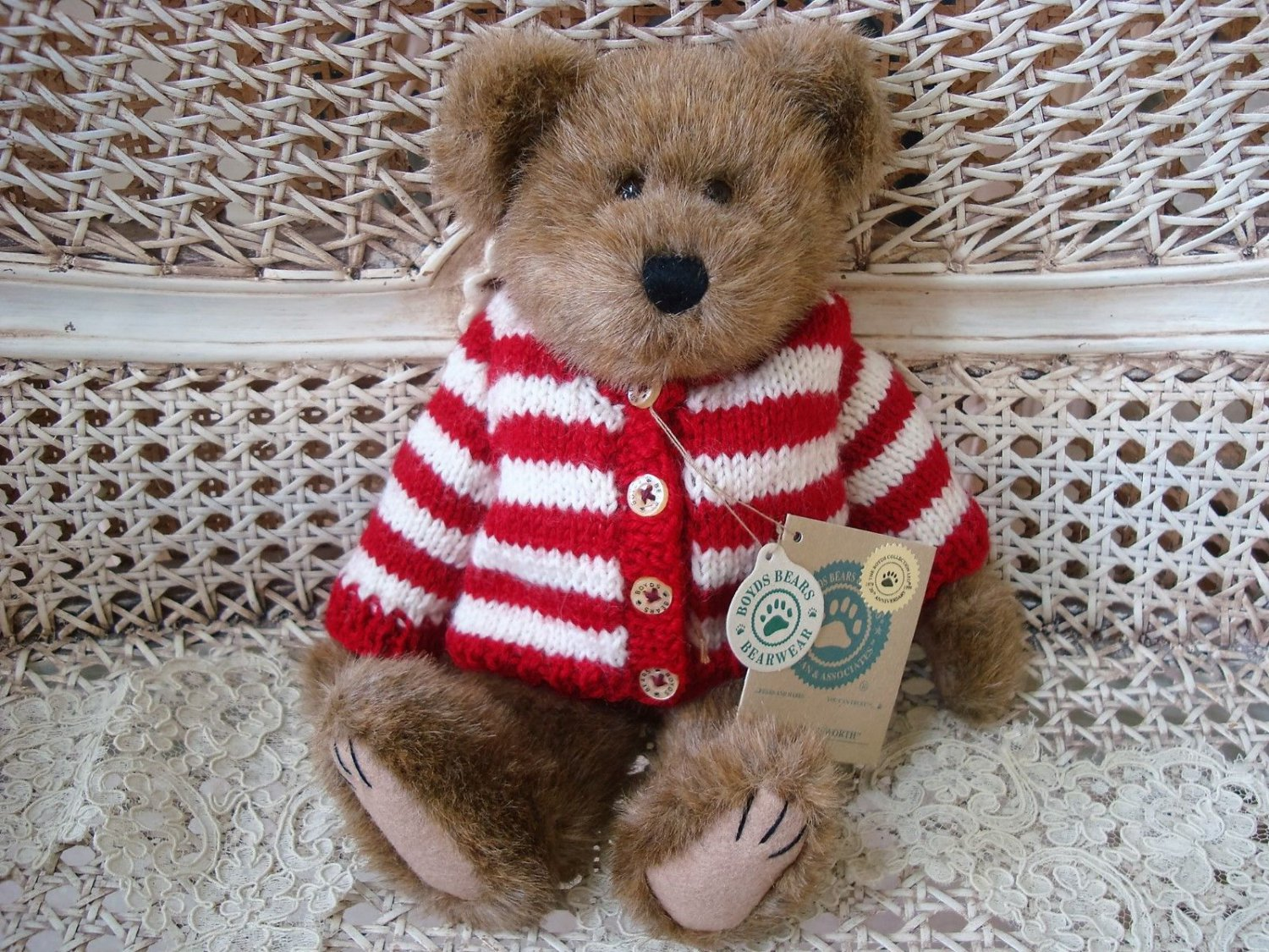 "BOYDS WALDO BEARSWORTH 11"" TALL BEAR IN RED & WHITE SWEATER *NEW STORE STOCK*"