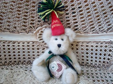 """BOYDS HB BEARWISH 8"""" TALL HAPPY BIRTHDAY BEAR WITH PARTY HAT **NEW STORE STOCK**"""