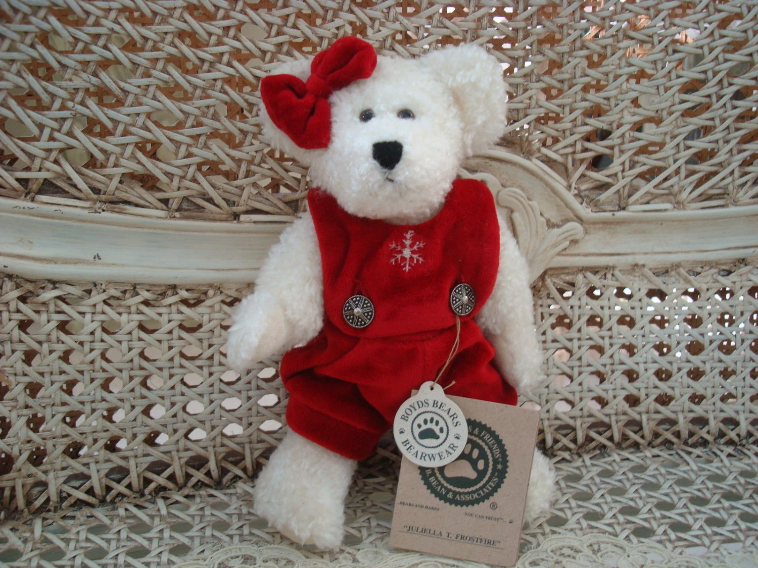 """BOYDS JULIELLA T. FROSTFIRE 8"""" HOLIDAY BEAR IN SNOWFLAKE ROMPER*NEW STORE STOCK*"""