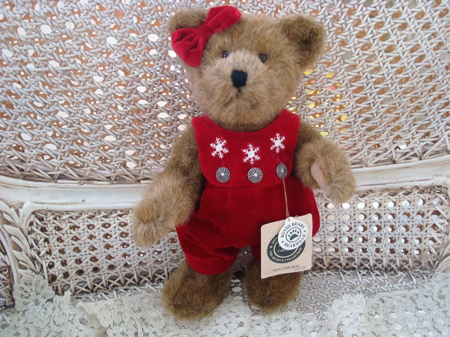 "BOYDS GWEN MARIE 12"" BEAR WITH SNOWFLAKE ROMPER CHRISTMAS ***NEW*****"