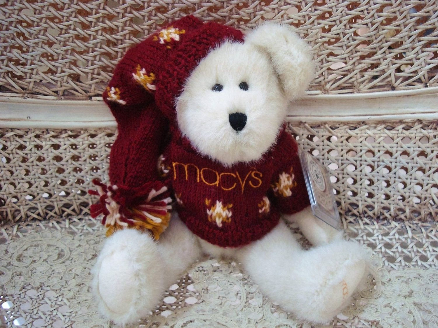 "BOYDS MACY'S TWINKLE BEAR 12"" TALL MACY'S EXCLUSIVE WITH SWEATER & HAT **NEW**"