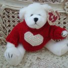 TY RETIRED WHITE VALENTINE BEAR WITH HEART SWEATER ***NEW STORE STOCK**