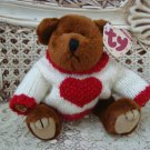 TY RETIRED BROWN VALENTINE BEAR WITH HEART SWEATER ***NEW STORE STOCK**