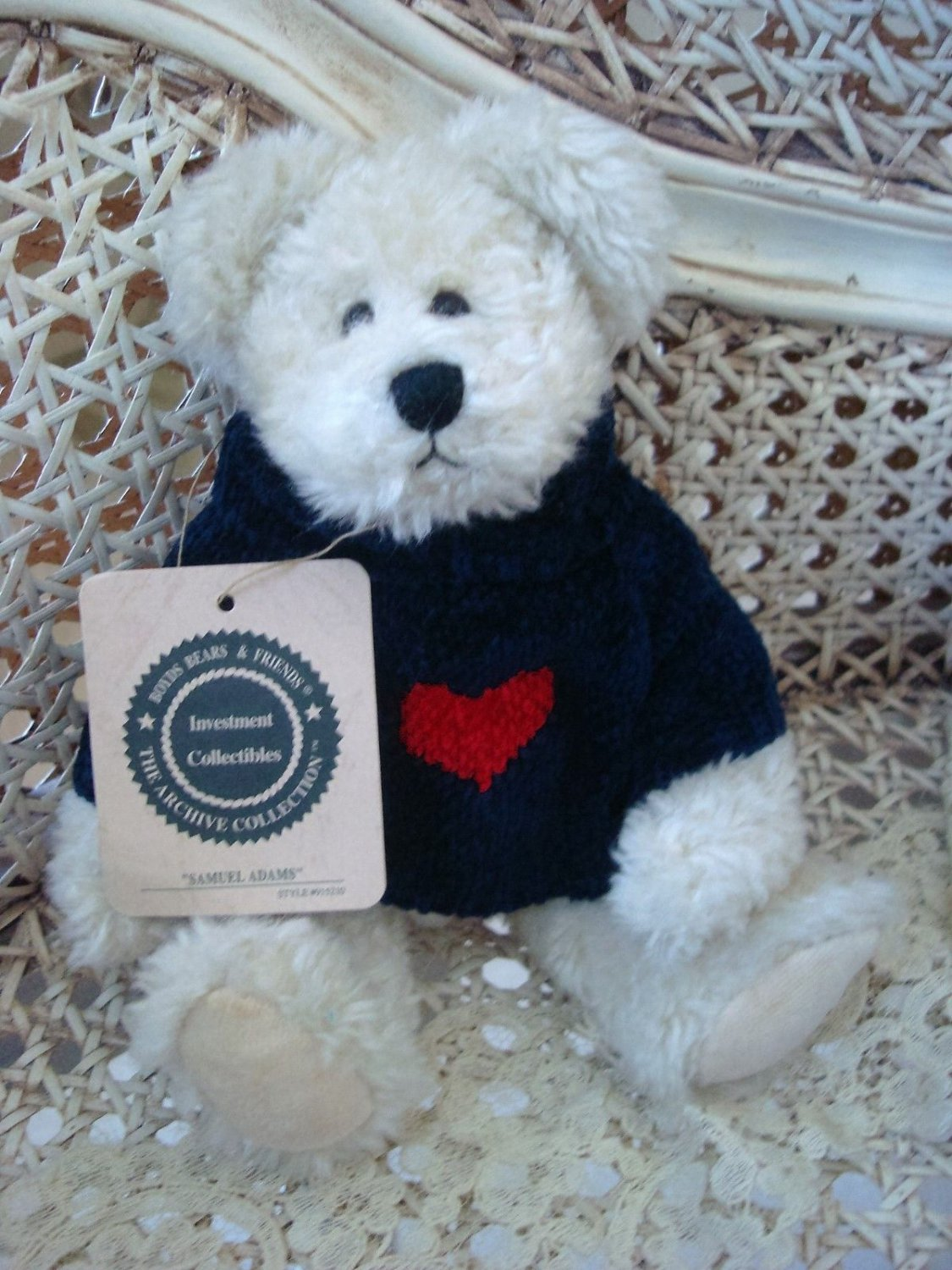 "BOYDS SAMUEL ADAMS 9"" TALL RETIRED VALENTINE BEAR WITH HEART SWEATER"