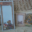 BOYDS BEARS MAGNETIC PAPER PAD & POST IT NOTES HOLDER WITH POST IT NOTES *CUTE*
