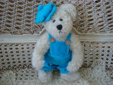 ADORABLE TURQUOISE BLUE OVERALLS & HAT OUTFIT FOR BOYD'S BEARS ****SO CUTE****