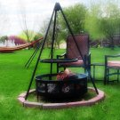 """Firepit Tripod Grill with 22"""" Cooking Grate by Sunnydaze 53"""" H x 22"""" W"""
