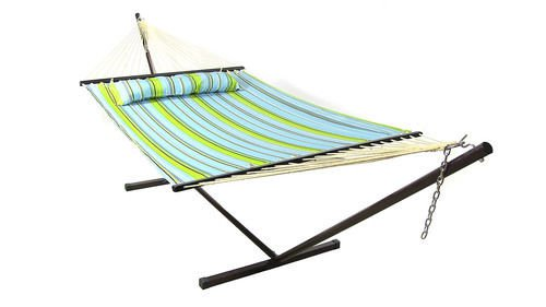 Quilted Double Fabric Hammock Spreader Bar and Pillow by Sunnydaze Decor