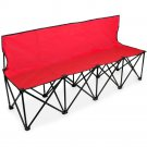 Crown Sporting Goods 6-Foot Portable Folding 4 Seat Bench with Back Red