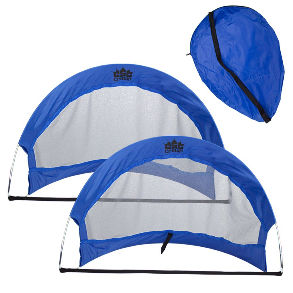 Crown Sporting Goods Set of 2 4' Pop Up Soccer Goals with 2 Carrying Bags