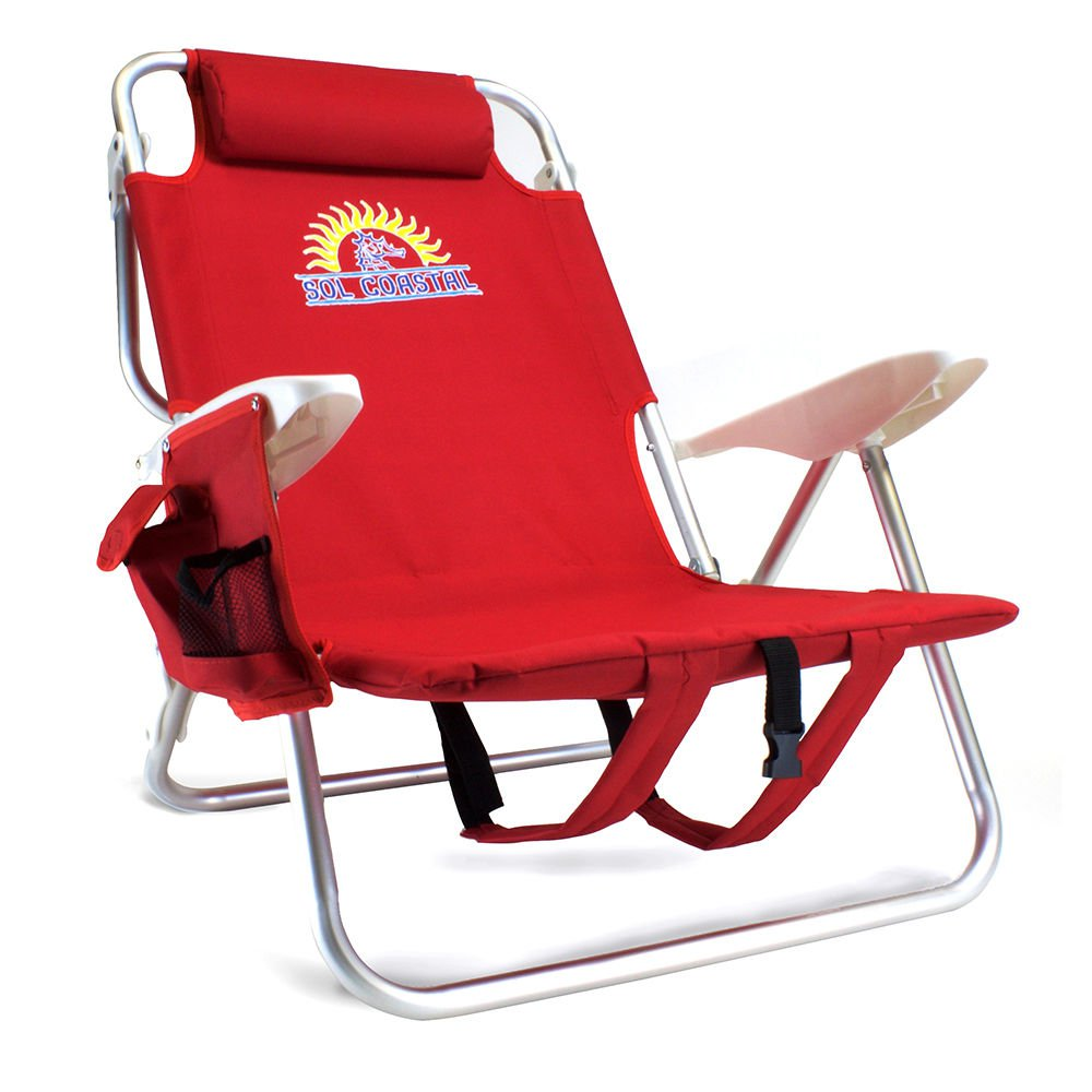 Beach Gear 4 Position Folding Beach Chair Red