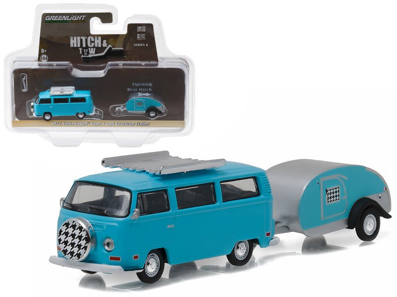 1972 Volkswagen Type 2 Bus Blue and Teardrop Trailer Hitch & Tow Series 8 1/64