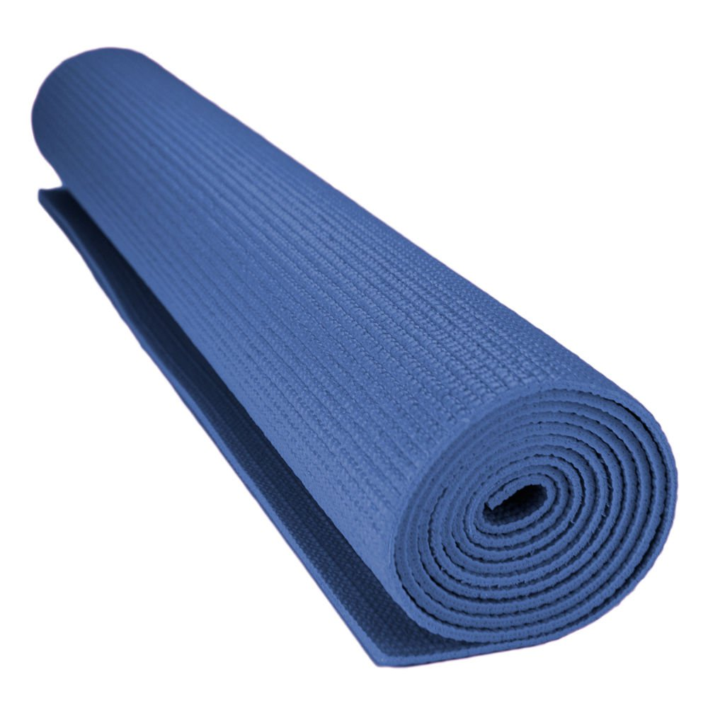 Crown Sporting Goods 1/8-inch (3mm) Compact Yoga Mat with No-Slip Texture - Blue