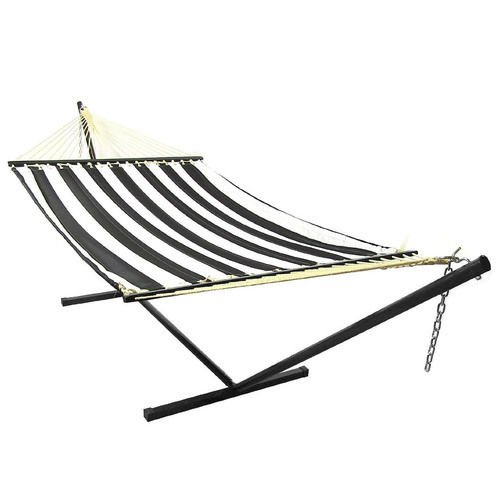Sunnydaze Black and White Quilted Double Fabric Hammock Spreader Bar and Stand