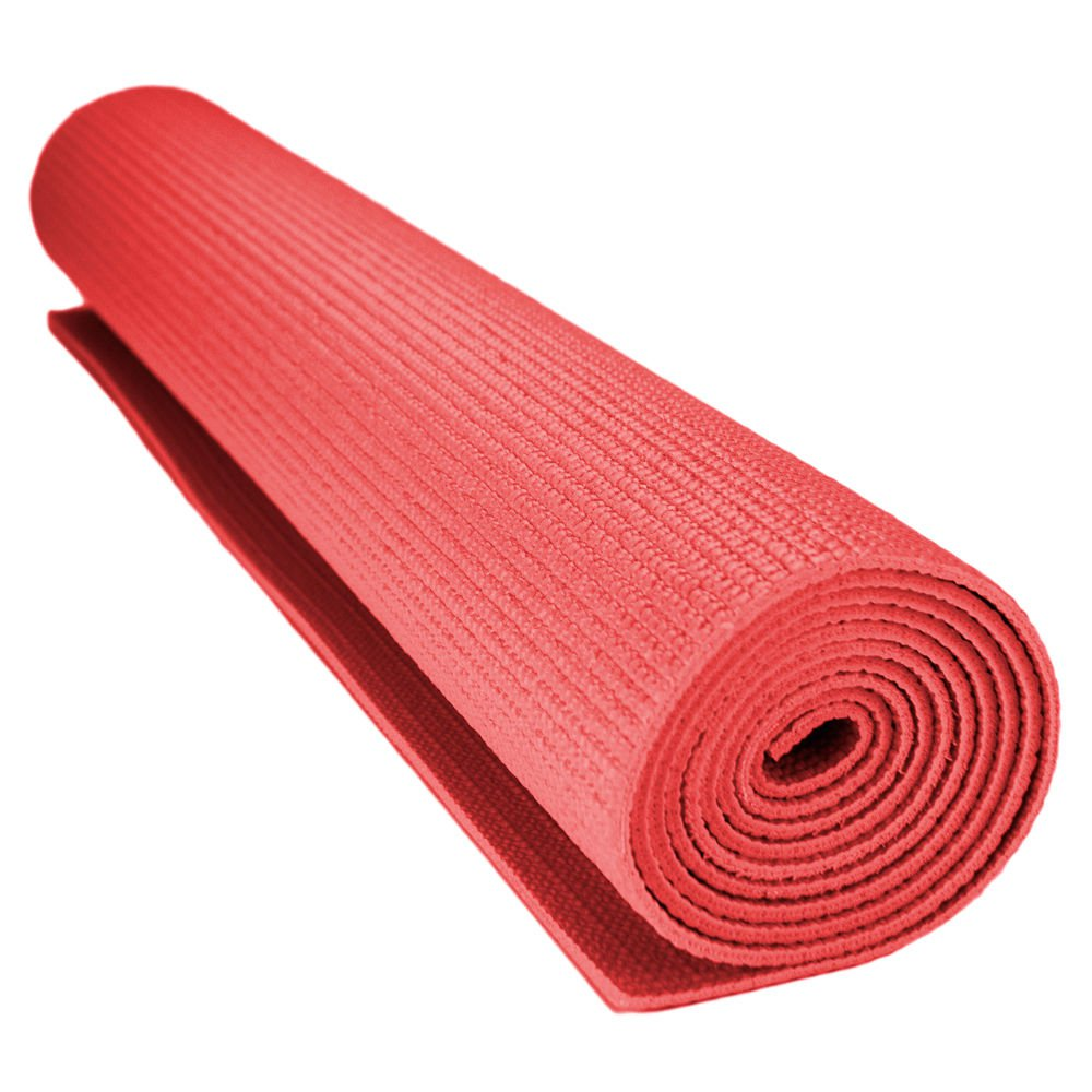 Crown Sporting Goods 1/8-inch (3mm) Compact Yoga Mat with No-Slip Texture Red