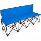 Crown Sporting Goods 6-Foot Portable Folding 4 Seat Bench with Back Blue