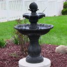 "Sunnydaze Two Tier Solar On Demand Fountain Black 23""L x 23""W x 34.5""H"