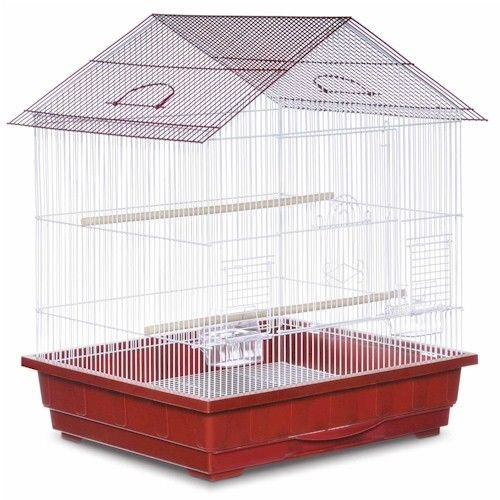 "Offset Roof Parakeet Cage - Red 25"" W x 21"" D x 29.5"" H 2 Perchs 2 Feeder/Water"